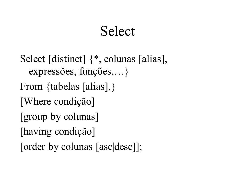 Select Select [distinct] {*, colunas [alias], expressões, funções,…}